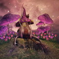 Fantasy mushrooms on a hill Royalty Free Stock Photo
