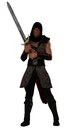 Fantasy nubian warrior rendered hooded ethnic african in chainmail brandishing sword Royalty Free Stock Photography