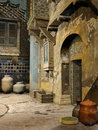 Fantasy oriental street corner with clay vases and wooden crates Stock Photos