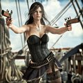 Fantasy Pirate female drawing two pistols to defend her ship.