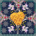 Fantasy print for shawl with cute unicorns in magical autumn forest. Golden snowflakes and luxury floral ornament