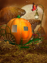 Fantasy pumpkin carriage with a lantern among mushrooms Royalty Free Stock Photography