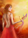 Fantasy red beautiful woman fairy and bird