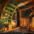 Fantasy room with cornucopia Royalty Free Stock Photography