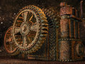 Fantasy rusty machinery with huge cogwheels Royalty Free Stock Photo