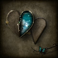 Fantasy scene heart locket Royalty Free Stock Photo