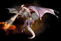 Fantasy scene of a red dragon blowing fire on a gradient smoke black background.