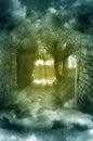 Fantasy scenery through arch Royalty Free Stock Photo