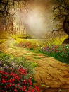 Fantasy scenery with an old castle Royalty Free Stock Photo