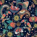 Fantasy seamless pattern. Decorative floral design for fabric, textile, wrapping paper, card, cover, wallpaper. Colorful