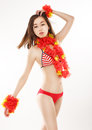 Fantasy sensual slim japanese girl in red bikini with origami flowers asian female flower Stock Image