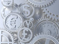 Fantasy silver clockwork with gears like currency sign. Euro gear, dollar, yen, pound Royalty Free Stock Photo