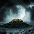 Fantasy stronghold on a hill with full moon Royalty Free Stock Photography