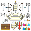 Fantasy symbols and scrolls a set of of classic elements found in medieval settings along with banners this is an ai file that Stock Images