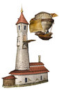 Fantasy tower and airship d render of a Royalty Free Stock Photo