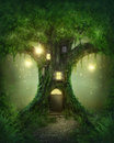 Fantasy tree house in forest Royalty Free Stock Photo