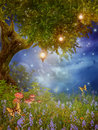 Fantasy tree with lamps Stock Images