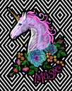 Fantasy unicorn embroidery patch sticker. Pink violet mane horse flower arrange poppy rose on geometric stripe