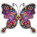 Fantasy vivid vintage butterfly spring colorful with flowers isolated on white vector Royalty Free Stock Photography