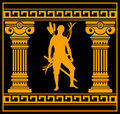 Fantasy warrior with columns Royalty Free Stock Image