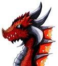 Fantasy Watercolor Red Dragon