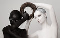 Photo : Fantasy. Yin & Yang Esoteric Symbol. Black & White Women Silhouettes  nuclear