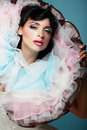 Fantasy young woman with colorful frilled satiny collar Royalty Free Stock Image