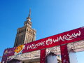 Fanzone and Palace of Culture in Warsaw, Poland Royalty Free Stock Image
