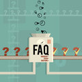 Faq machine vector illustration of a answering frequently asked questions Stock Photos