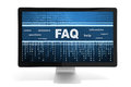 Faq on a screen message computer monitor isolated white background Stock Photography