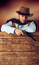 Far west gunman in the old wild Royalty Free Stock Image