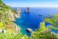 Faraglioni on capri island italy beautiful coast in south Royalty Free Stock Photography