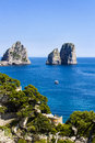 Faraglioni in capri island italy summertime at the famous Stock Photo