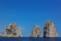 Faraglioni rocks at Capri island, Mediterranean Sea, Italy Royalty Free Stock Photo