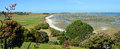 Farewell Spit Landscape Panorama, New Zealand Royalty Free Stock Photo