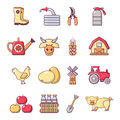 Farm agricultural icons set, cartoon style