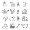 Farm agricultural icons set, outline style
