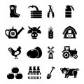 Farm agricultural icons set, simple style