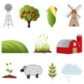 Farm and agriculture icons icon set Stock Images