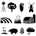 Farm and agriculture icons icon set Stock Photos
