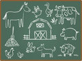 Farm Animal on ChalkBoard Royalty Free Stock Photography
