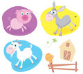 Farm animal pack – pig, goat, donkey. Royalty Free Stock Photography