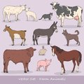 Farm animal vector set collection Royalty Free Stock Photo