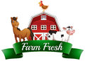 Farm animals a barnhouse and a signboard illustration of the on white background Royalty Free Stock Image