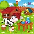 Farm animals in barnyard Royalty Free Stock Photo