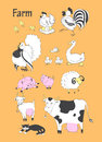 Farm animals big set. Chicken , rooster , turkey, duck, goose , pig, sheep , goat, cow, cat. Vector illustration Royalty Free Stock Photo