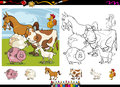 Farm animals cartoon coloring page set illustrations of funny characters group for book with elements Stock Photo