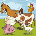 Farm animals cartoon group illustration of cute characters Royalty Free Stock Photography