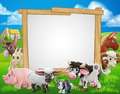 Farm Animals Cartoon Sign Royalty Free Stock Photo
