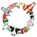 Farm animals in circle with copy space